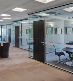 RF glass partition